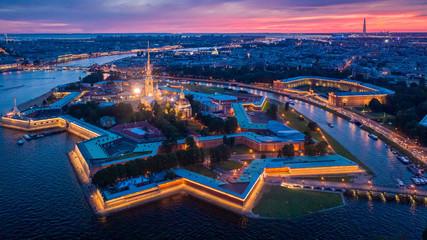 Poster de jardin Paris evening historical center of Saint Petersburg from a height of flight