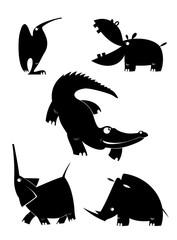 Original art animal isolated illustration set.  Original art silhouettes collection black on white