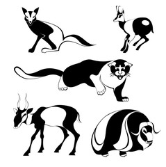 Original art animal isolated illustration set.  Original art silhouettes collection black on white