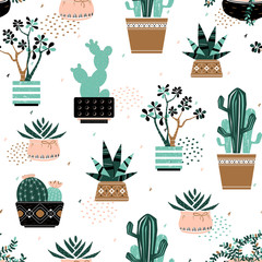 Cactuses and succulents pattern