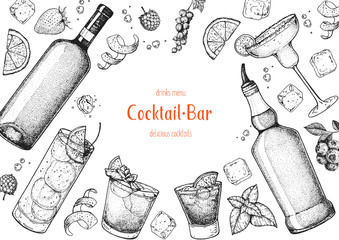 Alcoholic cocktails hand drawn vector illustration. Cocktails sketch set. Engraved style. Wine and whiskey bottle.