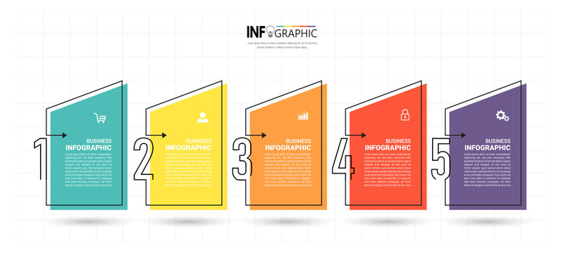 Timeline Infographics design template, linear concept with 5 steps