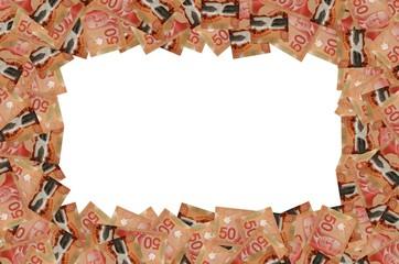 William Lyon Mackenzie King portrait on Canada 50 Dollars 2012 Polymer Banknote pattern