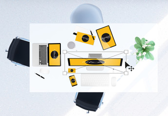Desk with Devices and Decorations Scene Creator Mockup