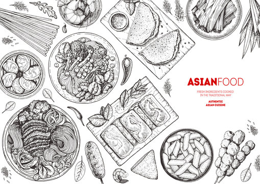 Chinese Food menu design template, engraved elements. Asian cuisine sketch collection. Hand drawn vector illustration. Asian food doodle sketch vector illustration. Vintage design.