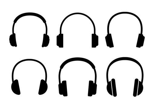Headphone icons set on white background. Vector illustration.