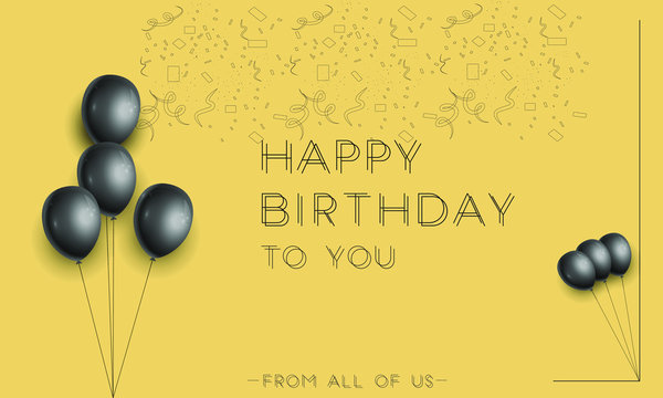 happy birthday elegant greeting card with black and gold balloons and falling confetti, Happy Birthday holiday banner,3d realistic glossy balloons and falling confetti,Vector template for greeting car