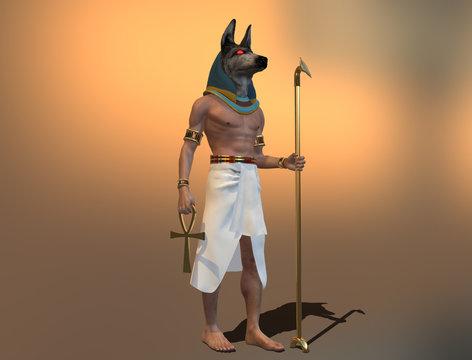 3d illustration of Egyptian god Anubis