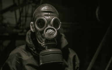 A soldier in a gas mask. Stalker. Wall mural