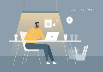 Vector concept illustration. A man overtime works in the office at night. Flat design, trendy style.