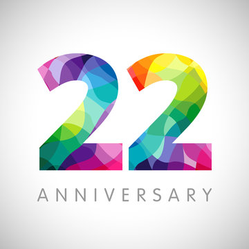 22 nd anniversary numbers. 22 years old logotype. Bright congrats. Isolated abstract graphic web design template. Creative 2, 3D digits. Up to 22% percent off discount idea. Congratulation concept.