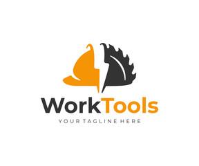 Construction equipment logo design. Power tools and construction helmet vector design. Building tools logotype