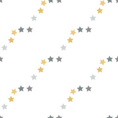Seamless pattern with grey and yellow stars on white background for plaid, fabric, textile, clothes, cards, post cards, scrapbooking paper, tablecloth and other things. Vector image.