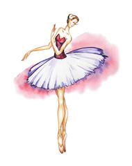 Classical ballerina in a tutu and pointe shoes.Watercolor drawing on a white background