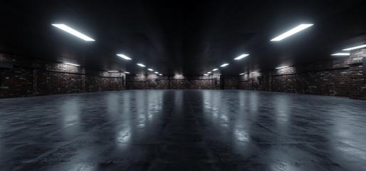 Dark Underground Brick Cement Asphalt Parking Showroom Car Garage Empty Glowing Corridor Lights Realistic Urban Showcase Background 3D Rendering