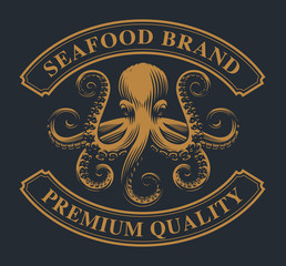 Vintage emblem with an octopus for seafood theme.