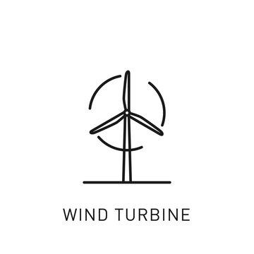 Wind turbine thin line icon. Design element for renewable energy, green technology. Vector illustration.