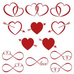 Fototapeta Zestaw serc na Walentynki obraz