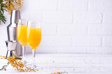 Mimosa cocktail with orange juice