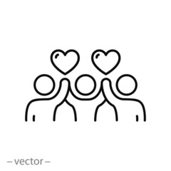 community voluntary group icon, charity work, people welfare, thin line web symbols on white background - editable stroke vector illustration eps10