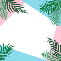 Abstract Background with Palm Leaves. Vector Illustration