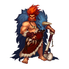 Ancient preitsoric man with a bone club in blue fur skin, realistic illustration funny  Prehistoric. Prehistoric redhead man hunter.