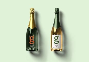 2 Champagne Bottles Mockup