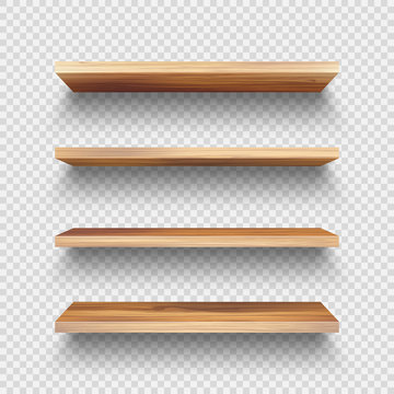 Realistic empty wooden store shelves set. Product shelf with wood texture. Grocery wall rack. Vector illustration.