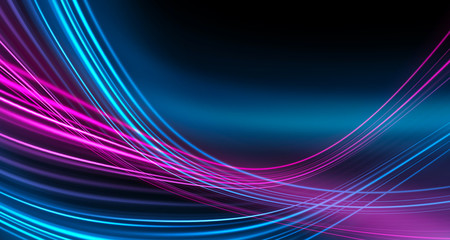Fotobehang Fractal waves Dark background, blue and pink neon lines. Symmetric reflection of geometric shapes.