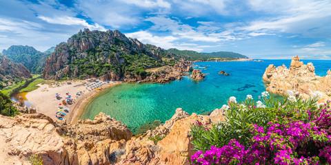 Photo on textile frame Mediterranean Europe Costa Paradiso landscape, with wild Spiaggia di Li Cossi, Sardinia