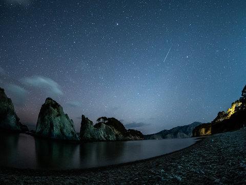 浄土ヶ浜と流星