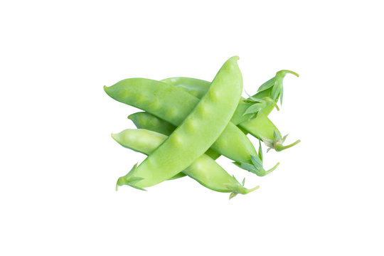 Sugar Pea, Snow peas isolated on white background with clipping path.