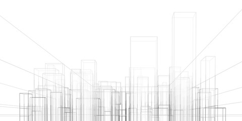 Abstract architectural background. Linear 3D illustration. Graphic concept. Vector Fotobehang