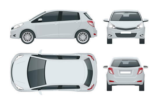 Subcompact hatchback car. Compact Hybrid Vehicle. Eco-friendly hi-tech auto. Easy color change. Template isolated on white view front, rear, side, top