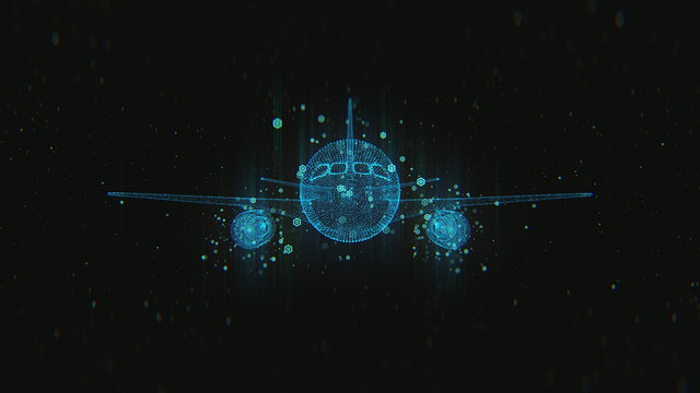 Abstract airplane on dark background with connecting dots and lines. 3d render