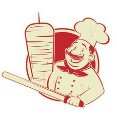 funny cartoon doner logo illustration in vintage style