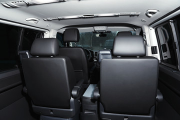 New modern car with comfortable seats inside