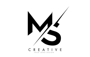 MS M S Letter Logo Design with a Creative Cut.