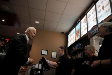 Democratic 2020 U.S. presidential candidate and former Vice President Biden buys ice-cream at a fast food restaurant in Pella