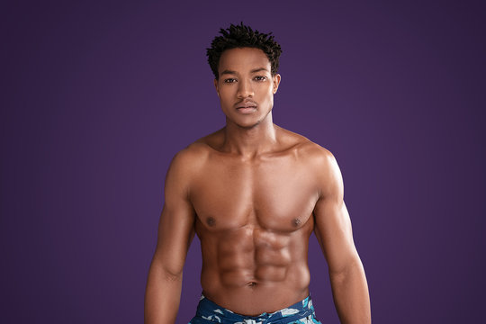 Fit young african man with beautiful torso.