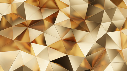 Abstract 3d rendering of gold surface. Futuristic background with lines and low poly triangle...