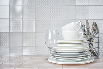 Clean dishes on the kitchen table