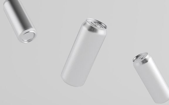 16 oz. / 500ml Aluminium Beer / Soda / Energy Drink Can Mockup - Three Floating Cans.  3D Illustration