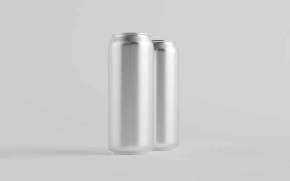 16 oz. / 500ml Aluminium Beer / Soda / Energy Drink Can Mockup - Two Cans.  3D Illustration