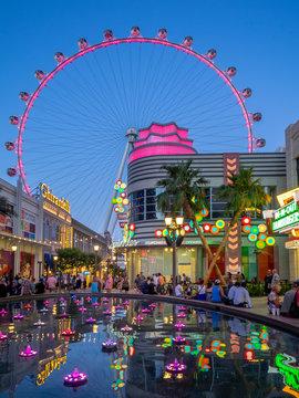Las Vegas, Nevada / USA - June 7, 2018: View of the the LINQ High Roller and Promenade of the LINQ Hotel & Flamingo Las Vegas Hotel & Casino