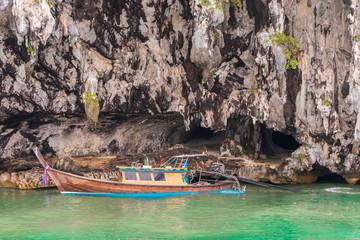 Bat Cave in Phang-Nga Bay, Thailand. Longtailboat Phang Nga.