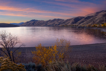 Wall Murals Deep brown SCENIC VIEW OF LAKE AGAINST SKY DURING SUNSET