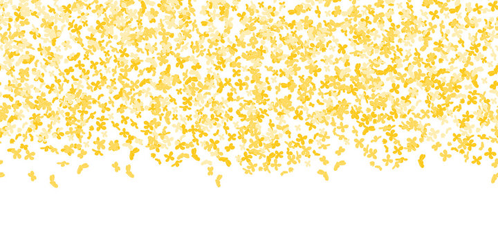 Floral pattern. Bright small flower pattern background with sweet osmanthus.  Confetti falling on white background. Color confetti for greeting cards, wedding invitation, gift packages.