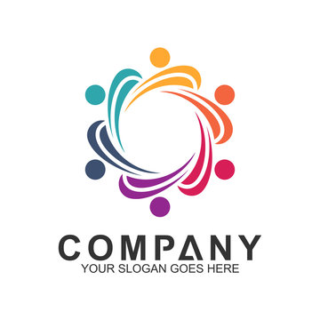 people connect,vector logo social,people care logo,human in circle