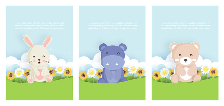 Set animals template card with rabbit,hippotamus and bear in paper card style for birthday card , baby shower card .